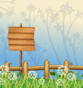 An empty wooden signboard in the woods illustration of Royalty Free Stock Image