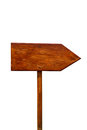 Empty wooden signpost on white Stock Image