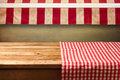 Empty Wooden Table Covered Wit...