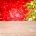 Empty wooden table over bokeh christmas holiday background ready for montage Stock Photos