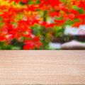 Empty wooden table over bokeh natural background ready for montage Royalty Free Stock Photography