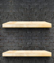 Empty Wooden Table top and shelf at black bricks wall,Template m