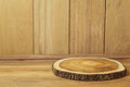 Empty wooden table with tree log. Autumn background Royalty Free Stock Photo