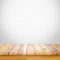 Empty wooden table with white gray gradient wall background.