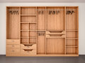 Empty wooden wardrobe closet.