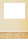 Empty yellow wall and wooden floor room Stock Photo