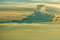 Empyrean flagship at the sea of clouds Stock Images