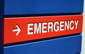 Emrgency sign a blue and red emergency outside a hospital Stock Images