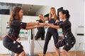 EMS electro stimulation women exercises Royalty Free Stock Photo