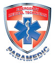 Emt paramedic medical design shield illustration of an or with star of life symbol and first aid cross on a Stock Images