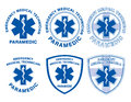 Emt paramedic medical designs illustration of six or with star of life symbols Royalty Free Stock Photography