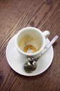 Emty expresso cup on a table Royalty Free Stock Photos