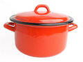 Enamel cooking pot red isolated on white background Royalty Free Stock Image