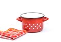 Enamel pot colorful and crisp image of Stock Photography