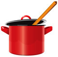 Enameled saucepan Royalty Free Stock Photography