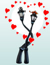 Enamored hug street lights, with hearts Royalty Free Stock Photo