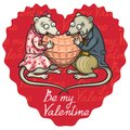 Enamored mice valentine heart