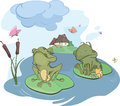 The enamored young frog cartoon two enamoured frogs and butterflies Stock Photo