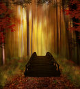 Enchanted forest with bridge fantastic a wooden in autumn Royalty Free Stock Photo