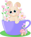 Enchanted garden rabbit an illustration featuring a in a cup in an Royalty Free Stock Photos