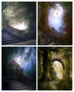 Enchanting places set four images of mysterious fantasy Stock Photos