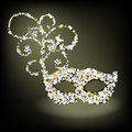 Encrusted beaded mask no transparencies fully editable Royalty Free Stock Image