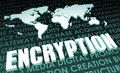 Encryption industry global standard on d map Stock Images