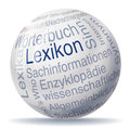 Encyclopedia ball and word clouds Royalty Free Stock Photography