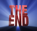The end bold red on a dark blue background brilliantly backlit with light rays shining through Stock Images
