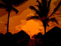 End of the day orange sunset against palms on tropical island beach Stock Photo
