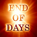 End of days written on a soft orange background Stock Photo