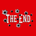 The end label over red background vector illustration Stock Photos