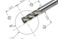 End mill cutter isolated on drawing background with clipping path Stock Photos