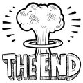 The End mushroom cloud sketch Royalty Free Stock Image