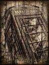 The end of the old phone box grunge and textured abstract image a british Royalty Free Stock Photo