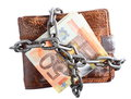 End of personal spending wallet euro banknote in chain currency isolated on white Stock Photo