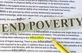 End poverty concept education print background Stock Photography