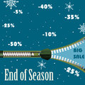 End of season abstract colorful background with zipper and the text big sale written among snowflakes and various reduction offers Royalty Free Stock Images