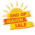 End of season sale with summer sun sign, yellow and orange drawn Royalty Free Stock Photo