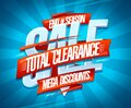 End of season sale, total clearance, mega discounts vector poster design Royalty Free Stock Photo