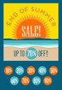 End of summer sale banner with set of editable discount prices Royalty Free Stock Photo