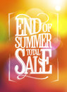 End of summer total sale text design against sunny bokeh backdrop Royalty Free Stock Photography