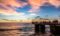 The end of the world jetty at sunset along galle face road boarding indian ocean in colombo sri lanka Stock Photography