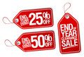 End of year savings labels set sale Stock Photo