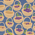 Endless background with baskets full of berries. Royalty Free Stock Photo