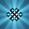 Endless knot blue light flare eternal is a cultural symbol across buddhism tibet and chinese art illustrated with powerful flares Stock Photos
