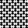 Endless puzzle. Seamless vector pattern. Alternate black and white elements of the puzzle.
