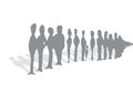 Endless queue of people cartoon illustration waiting unrecognizable silhouettes Stock Image