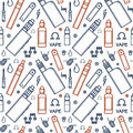 Endless vape background vector seamless pattern of vaporizer and accessories color print on white Royalty Free Stock Photo