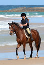 Endurance rider with horse on beach Royalty Free Stock Photo